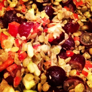 close up lentil salad